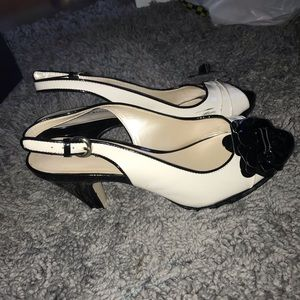 Cream and White heels with black flower accent